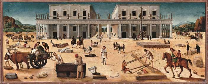 Piero di Cosimo, La costruzione di un edificio, 1490 circa, Tavola Sarasota (FL), The John and Mable Ringling Museum of Art