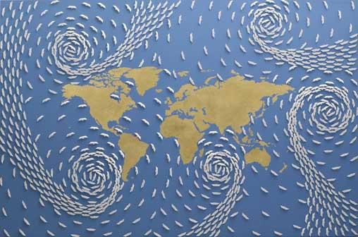 Riccardo Gusmaroli, Mondo oro – cm 100 x 150 – Anno 2014, Tecnica Barche di carta su tela e foglia oro
