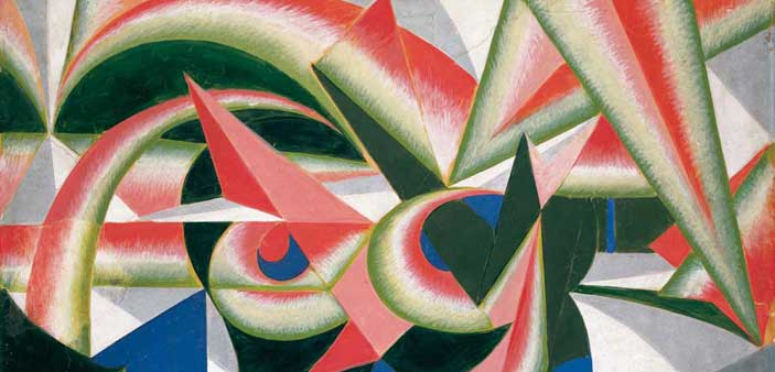 Giacomo Balla, Forze di paesaggio + cocomero, 1917-1918, tempera su carta intelata