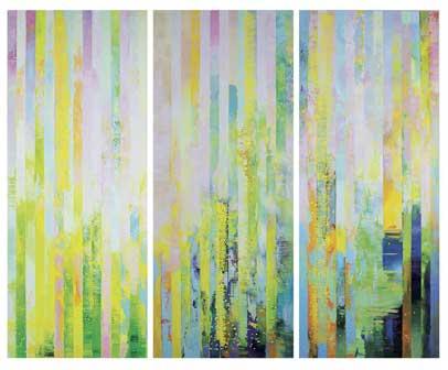 Massimo Kaufmann, Clinamen, olio su tela, cm 230x270 (trittico), 2014