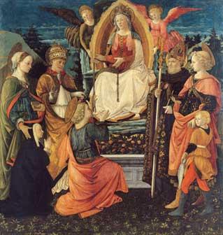 Filippo LIPPI e Fra DIAMANTE, La Madonna della Cintola, i santi Gregorio, Margherita, Tommaso, Agostino e Tobiolo e l¹Angelo,1456-1465