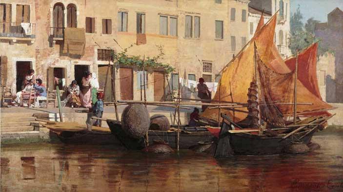 Egisto Lancerotto: Canale di Venezia, olio su tela, cm 68,5 x 120,5 Londra, collezione privata