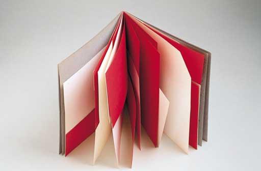 Bruno Munari - Libro illeggibile rosso e bianco 1953 carta rilegata 25 x 25 cm