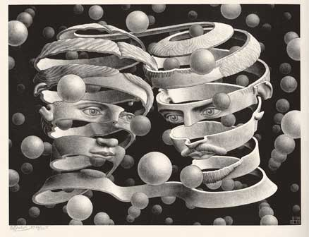 Maurits Cornelis Escher, Vincolo d'unione / Bond of Union, 1955, Litografia, 25,30x33,90 cm, Collezione Giudiceandrea Federico, All M.C. Escher works, © 2015 The M.C. Escher, Company. All rights reserved