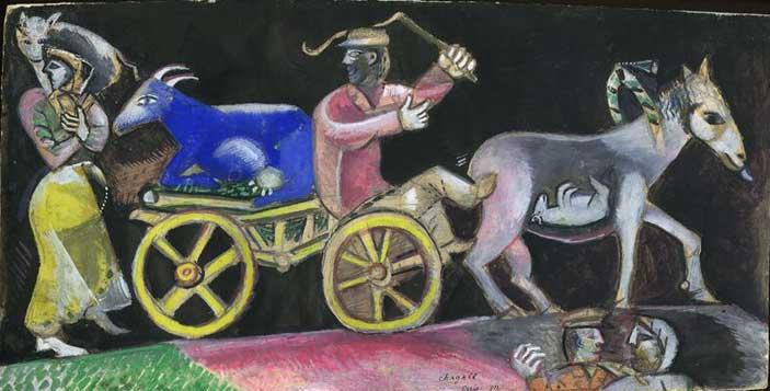 Marc Chagall, Studio per Il mercante di bestiame, 1912, Gouache e grafite su carta, 15,7x31 cm, Lascito Jules Lubell, New York, all'American Friends of the Israel Museum, in memoria della nonna Chaya Austern Fuchs Chagall ® by SIAE 2015