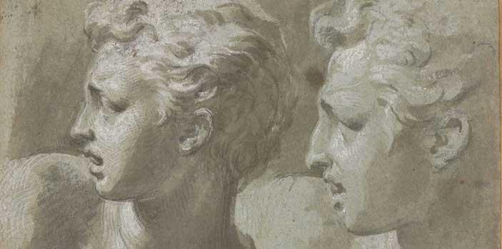 Parmigianino, Due teste di profilo, Firenze, Gabinetto Disegni e Stampe degli Uffizi, inv. 743 F