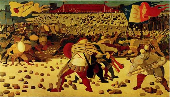 Salvatore Fiume, La battaglia dei sassi, anni '49 – '52, olio su tela, 170x300 cm