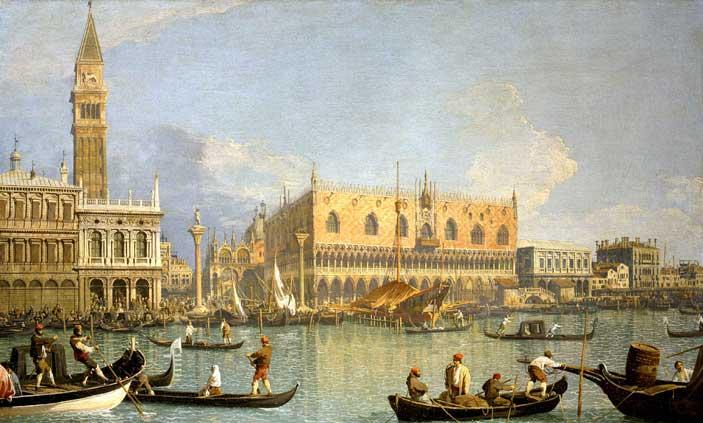 Canaletto, Il molo, Palazzo Ducale e il Campanile di San Marco, olio su tela, 51 x 83 cm. Firenze, Galleria degli Uffizi