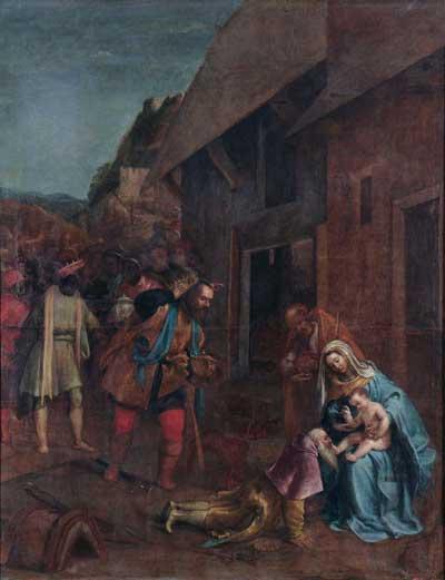 Lorenzo Lotto, Adorazione dei magi, 1554-1555, olio su tela, 170x135cm