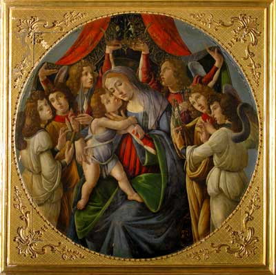 Botticelli, La Madonna con bambino e sei angeli, particolare