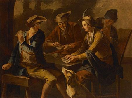 Giacomo Francesco Cipper detto il Todeschini, Il baro, Olio su tela, cm 160 x 118