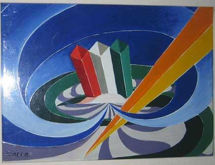 Giacomo Balla, Canto patriottico, Smalto su tavola, 28x36 cm