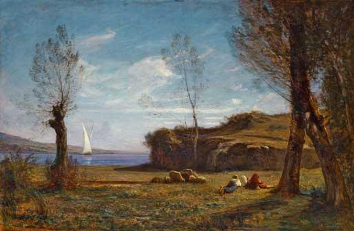 Antonio Fontanesi, Aprile (Rive del lago di Bourget), olio su tela 102 x 153 cm