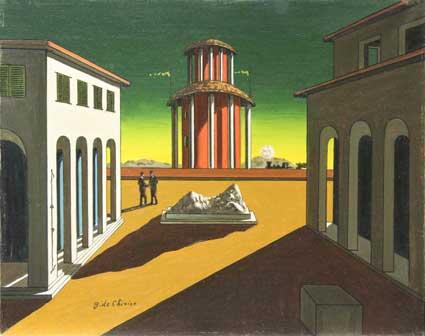 Giorgio De Chirico, Piazza d'italia 1953 bassa olio su tela 50x40 - Mostra a Castrocaro Terme
