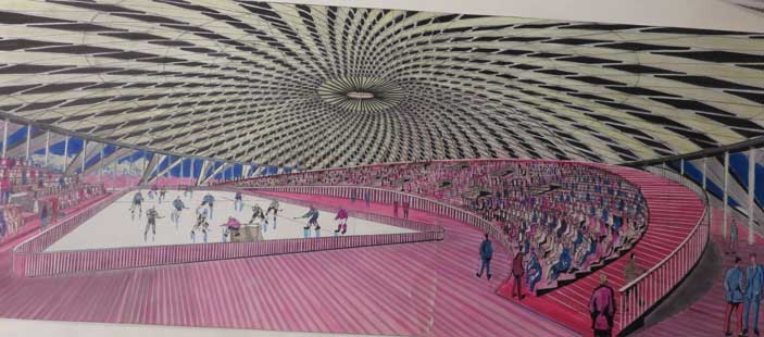 Pier Luigi Nervi, con William and Tazewell&Associates, Sport Arena nel Cultural and Convention Center di Norfolk (USA) (1965-71) – prospettiva interna, Collezione MAXXI Architettura. Archivio Pier Luigi Nervi, Courtesy Fondazione MAXXI