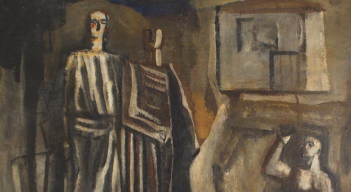 Mario Sironi, Il Mito, particolare. Opera in mostra a Mercanteinfiera