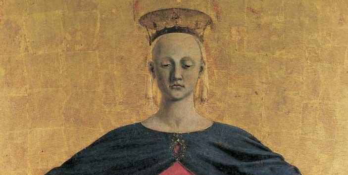 Piero della Francesca, Madonna della Misericordia, 1445-1462, olio su tavola. Museo Civico, Sansepolcro (particolare)