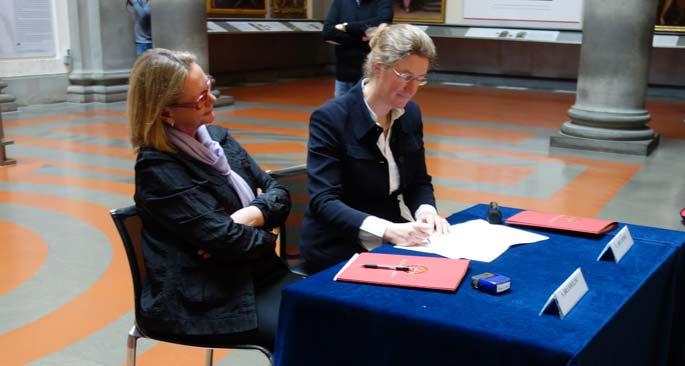 Manutenzione David, Simonetta Brandolini d'Adda e Cecilie Hollberg firmano l'accordo