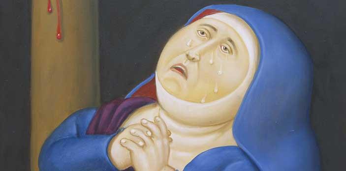 Fernando Botero, Madre afligida (particolare), 2010, Olio su tela , 71 x 58 cm, Medellín, Museo de Antioquia