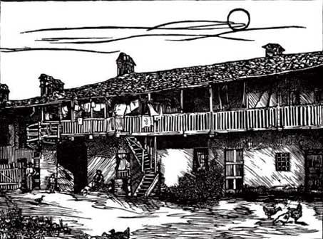 Gianfranco Schialvino, Cascina al Pasquaro (2011), Xilografia su legno di filo, mm 300 × 400