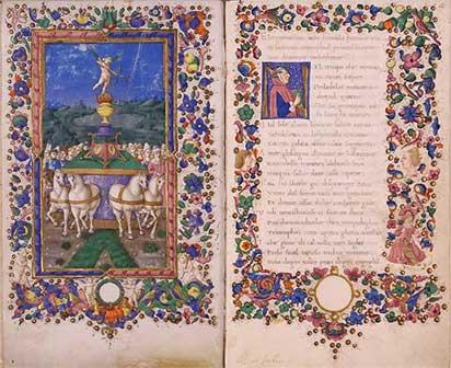 Francesco Petrarca, Trionfi, Firenze?, seconda metà del sec. XV, Roma, Biblioteca dell'Accademia Nazionale dei Lincei e Corsiniana, 55 K 10, Foto © Accademia Nazionale dei Lincei