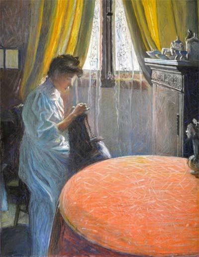 Gino Severini, Femme cousant, 1907, pastello su carta
