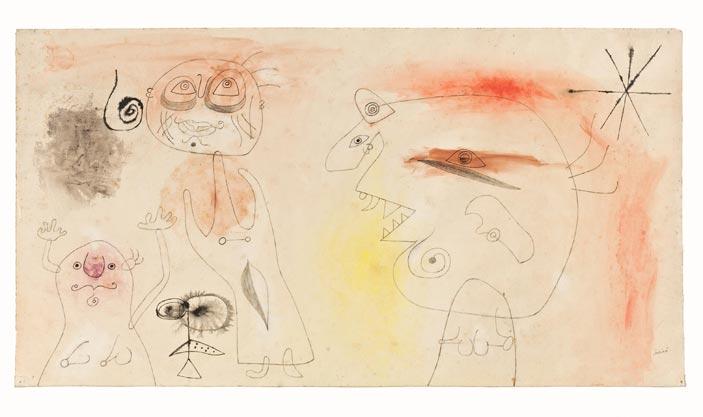 Joan Miró, Donne, uccello, stelle, 1942, Matita, matita morbida, pastello, inchiostro di china e acquerello su carta, cm 42,5 x 79, Collezione privata © Successió Miró by SIAE 2016
