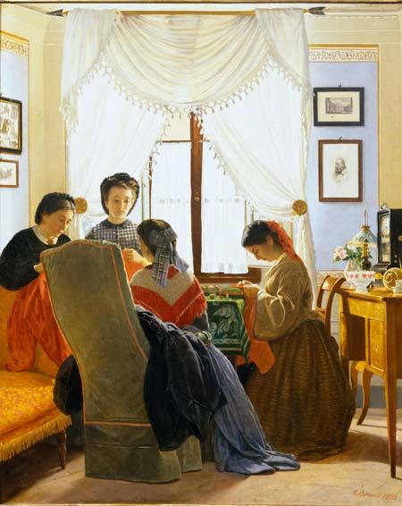 """Odoardo Borrani, Cucitrici di camicie rosse, 1863, Olio su tela, 66x45 cm, Collezione privata - Mostra """"I Macchiaioli. Le Collezioni svelate"""""""