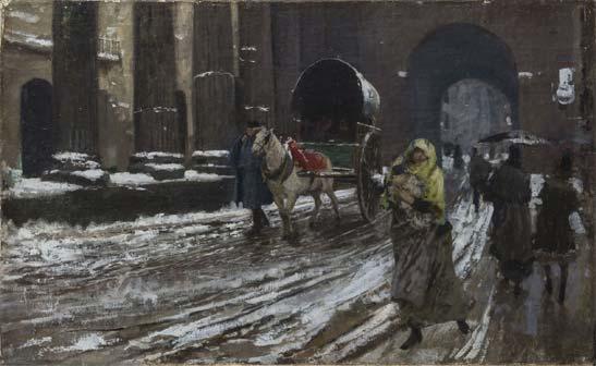 Mosè Bianchi, Le colonne di S. Lorenzo, 1890. Olio su tela 48x75,5 cm