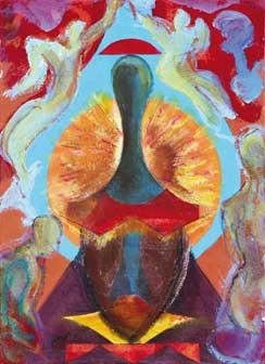 Bruno Ceccobelli, L'incanto del rosa,1999, tecnica mista su tela, cm35x25,5