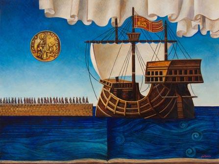 Franco Fortunato, Imbarco, olio su tela cm 60x80