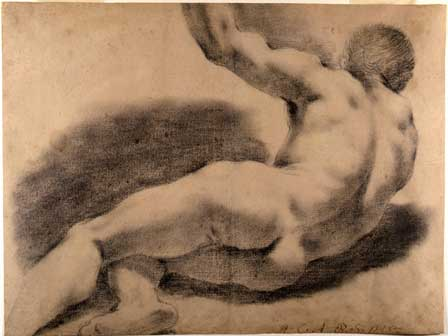 Giovan Francesco Barbieri detto Guercino, Nudo virile sdraiato, XVII sec, Bologna, Pinacoteca Nazionale - Biennale del Disegno