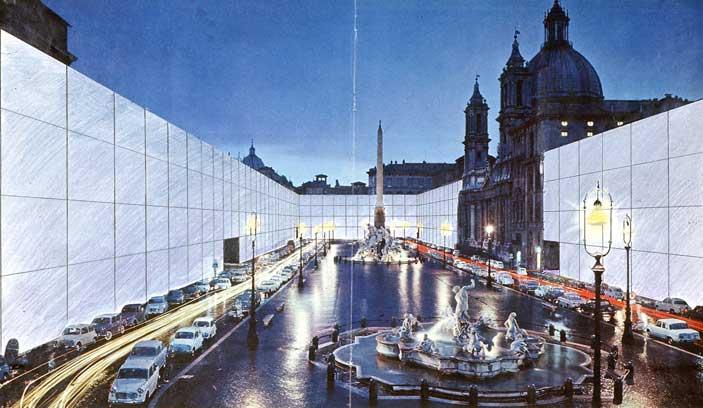 Il Monumento Continuo (Piazza Navona), 1970, fotomontaggio (Archivio Superstudio)