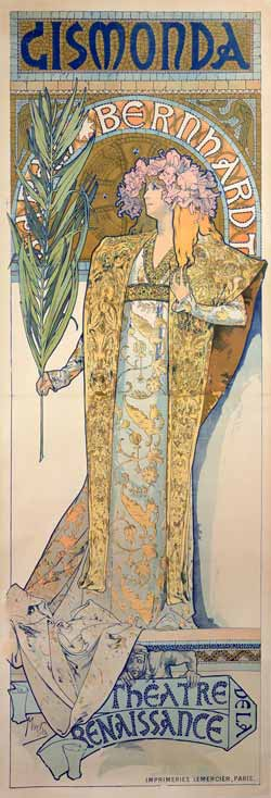 Alphonse Mucha, Gismonda, 1894, Litografia a colori, 216x74,2 cm © Mucha Trust 2016
