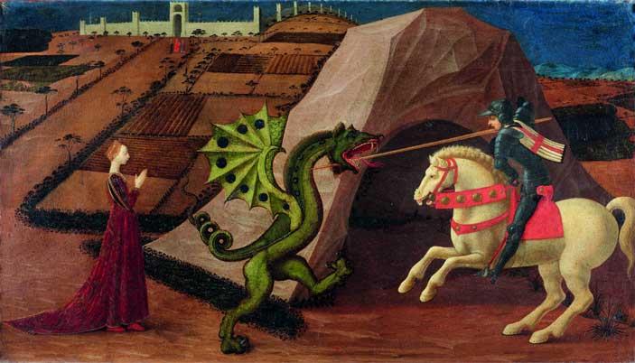 Paolo Uccello: San Giorgio e il drago, c. 1458-60 Olio su tavola, cm 52 x 90 Parigi, Musée Jacquemart-André - Mostra Orlando Furioso 500 anni