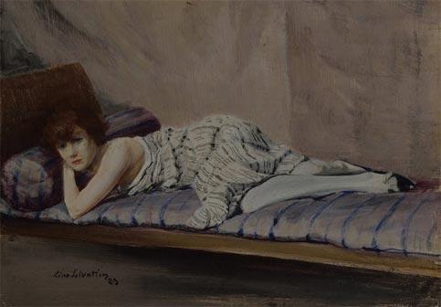 Lino Selvatico, Il guanciale viola, 1923, olio e tempera su tavola, cm 32 x 41,5, Collezione privata