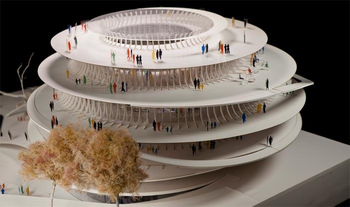 Mario Cucinella, Kwame Nkrumah Presidential Library Lago Volta, Ghana, Plastico. Veduta d'insieme, Modello MCA Archive, foto modello by Moreno Maggi - Mostra Organismi