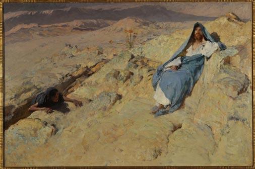 Domenico Morelli, Cristo tentato , 1885 ca, olio su tela, cm 79x118,5 - Mostra Dialogo sulla Misericordia