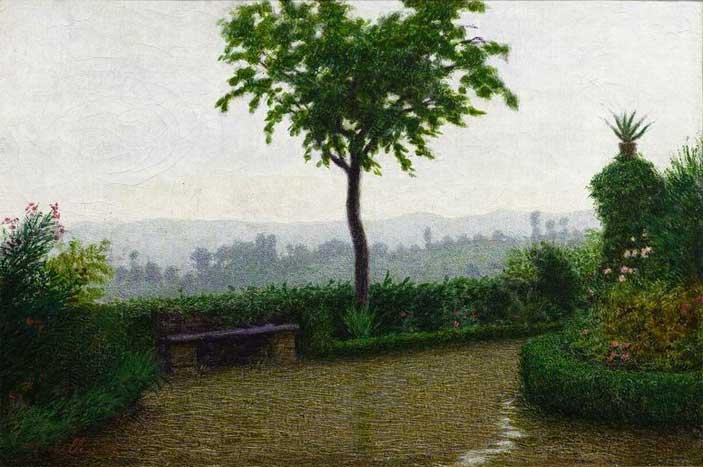 """Angelo Morbelli (Alessandria 1853 – Milano 1919), Tempo di pioggia, 1916, olio su tela. Provenienza: legato 1929, Teresa Cella vedova Chiaruttini - Mostra """"Sei stanze, una storia ottocentesca"""""""