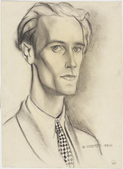 Giovanni Costetti (Reggio Emila, 1874 - Settignano, 1949), Profilo di Giuseppe Lanza del Vasto, 1926; matita, carboncino su carta giallastra, GDS inv. 123138.