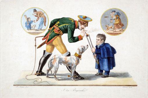 Dietrich Wilhelm Lindau, I tre Bajocchi, 1833, acquaforte Roma, Museo di Roma, Gabinetto delle Stampe, inv. MR 6386