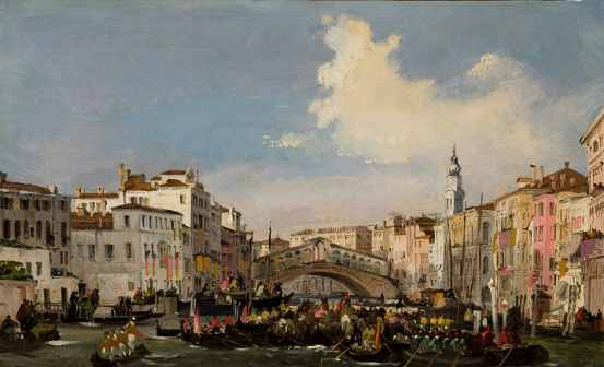 Ippolito Caffi, Venice: Regata on the Grand Canal, before 1848-1849, Oil on stiffened card, 25,5x41,5 cm