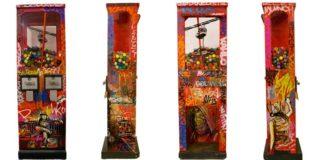 Alice Pasquini, Cash Cow, Acrilico e spray su distributore di palline vintage. Misure cm110 x 23 x 35, Autentica dell'artista, 2014.