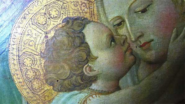 Giovanni dal Ponte, Madonna col Bambino in trono, tempera su tavola, cm. 120x60, Galleria dell'Accademia di Firenze, particolari dei volti della Vergine e di Gesù Bambino prima del restauro