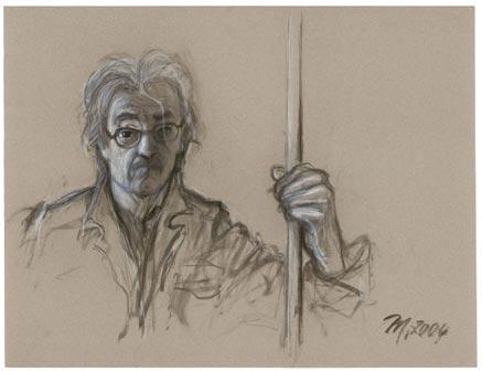"""Markus Vallazza Autoritratto (da """"Don Quijote""""), 2004 Carboncino e gesso su carta 60 x 80 cm Fotolito Longo, Bolzano"""