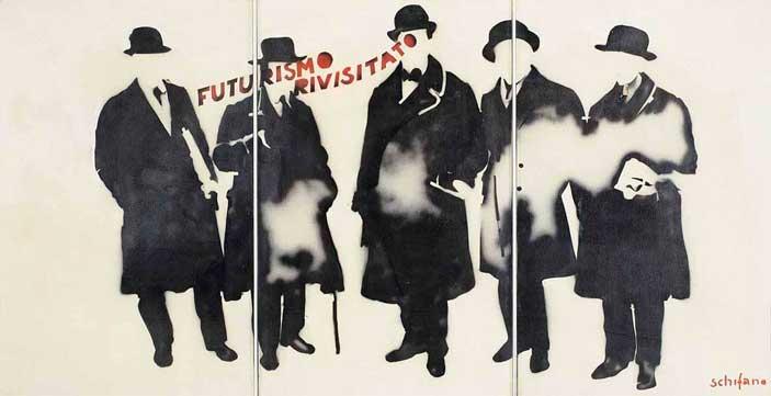 Mario Schifano, Futurismo rivisitato, 1965, smalto e spray su tela e perspex - Mostra Pop Art