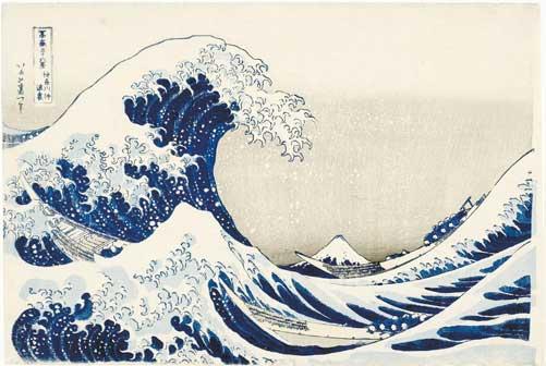 Katsushika Hokusai, La grande onda presso la costa di Kanagawa, dalla serie Trentasei vedute del monte Fuji, 1830-1832 circa, Silografia policroma, 25,9 x 38,5 cm, Honolulu Museum of Art