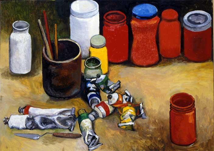 Renato Guttuso, Barattoli e tubetti di colore, 1986 Olio su tela, cm 60x80 Roma, Archivi Guttuso © Renato Guttuso by SIAE 2016