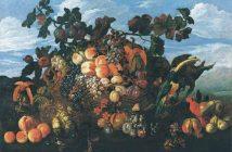 Abraham Brueghel, Grande natura morta di frutta in un paesaggio, 1670 - Olio su tela, 97x136,5 cm - Collezione privata