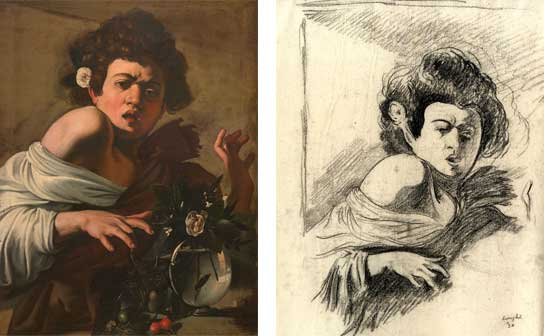 Caravaggio, Fanciullo morso da un ramarro e Disegno dal dipinto di Caravaggio Fanciullo morso da un ramarro di Roberto Longhi